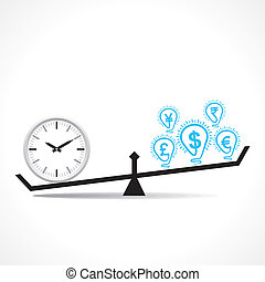 compare clock and dollar bulb , time is money conceptual...