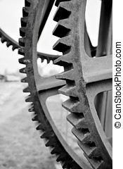 Gears at a historic crane in the port of Magdeburg