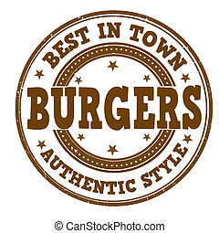 Burgers stamp - Burgers grunge rubber stamp on white, vector...