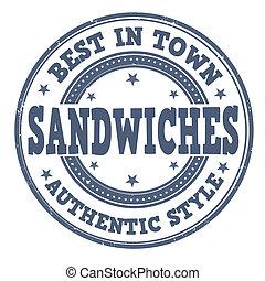 Sandwiches stamp - Sandwiches grunge rubber stamp on white,...