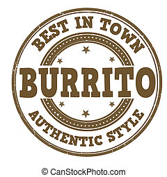 Burrito stamp - Burrito grunge rubber stamp on white, vector...