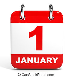 Calendar on white background 1 January 3D illustration