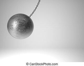 swinging metal ball - 3d image of huge swinging metal ball