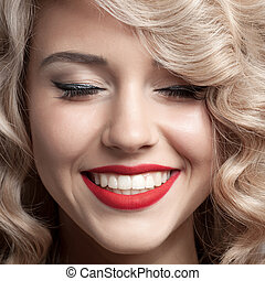 Close up face of beautiful Woman Healthy Curly Hair Gorgeous...