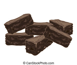 chocolate brownies - an illustration of a stack of delicious...
