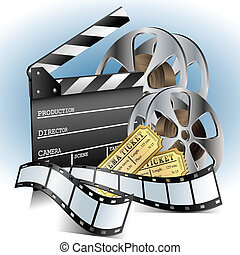 Movie related item set with clapper, ticket, and film role