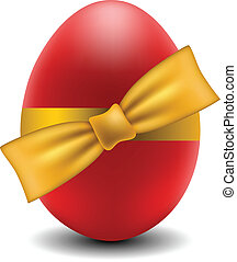 Red Easter egg with yellow bow isolated on white