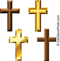 Wood and gold cross set for isolated on white