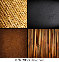 Collection of four textures backgrounds - bamboo, leather,...