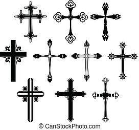 Cross symbol set - Black Cross symbol set isolated on white
