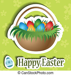 Easter card with basket and eggs - Green Easter card with...