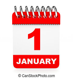 Calendar on white background. 1 January. 3D illustration.