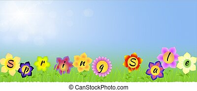Banner with Spring sale on the flowers with blue sunny...
