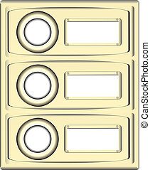 Block doorbell buttons with place for information. Vector...