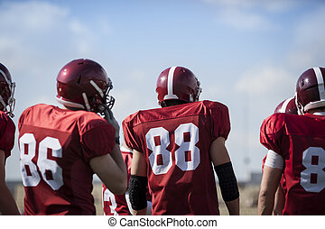 American football players - sport team concept, selective...