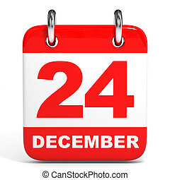 Calendar. 24 December. - Calendar on white background. 24...
