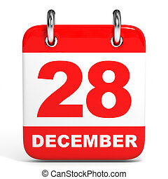 Calendar. 28 December. - Calendar on white background. 28...