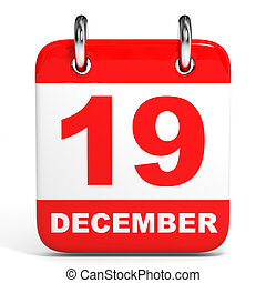Calendar. 19 December. - Calendar on white background. 19...