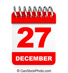 Calendar on white background. 27 December. 3D illustration.