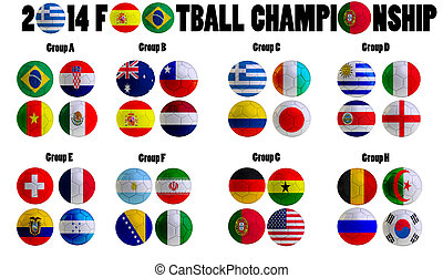 Football Championship 2014 in Brazil Groups A to H 32 nation...