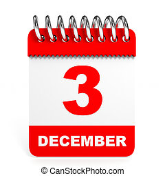 Calendar on white background 3 December 3D illustration