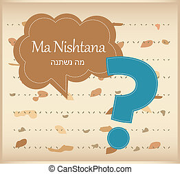 passover card haggadah question on matza background