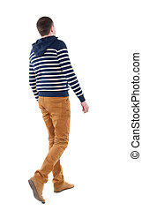 Back view of walking handsome man in jeans and striped sweater.  young guy going . Rear view people collection.  backside view of person.  Isolated over white background.