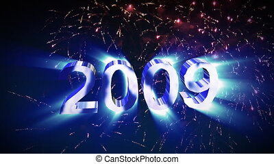 2009 Fireworks - 3D 2009 Graphic with Fireworks in...