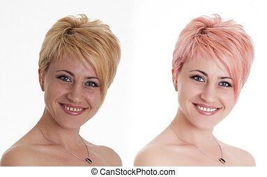 Woman portrait before and after computer retouching. Face of...