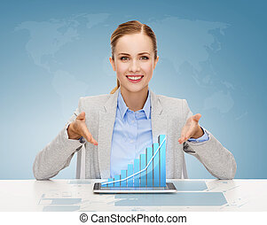 smiling businesswoman with tablet pc - business, technology,...