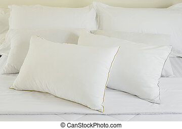 White pillows on a bed Comfortable soft pillows on the bed