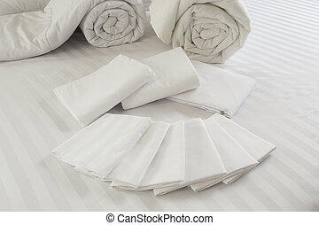 Duvet roll down filled duvet rolled up isolated on white...