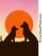 dogs couple - illustration, sunset and the silhouette of a...