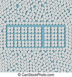 pills concept: keyboard, button