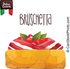 Bruschetta with tomato, bacon and basil. Italian food vector...