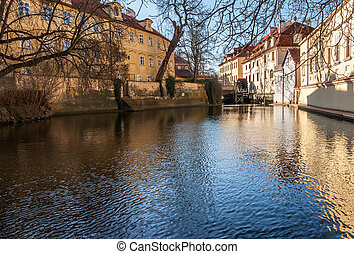 Old watermill on Chertovka river in Prague.