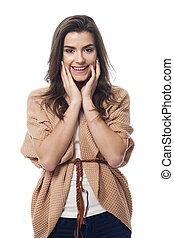 Young happy woman in fashion clothing