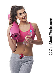 Woman with equipment for fitness workout