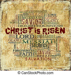 Christ is Risen - Religious Words in grunge style on grunge...