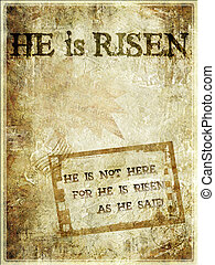 """He Is Risen"" Easter Background - Religious Words in grunge..."