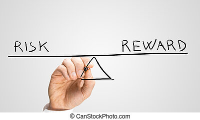 Diagram of seesaw showing risk and reward