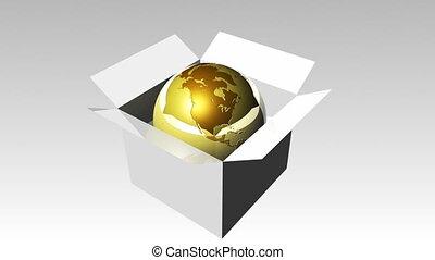 Globe in a box 2 - 3d Globe in a box 2