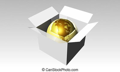 Globe in a box 3 - 3d Globe in a box 3