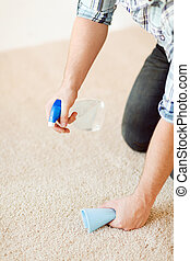 close up of male cleaning stain on carpet - cleaning and...