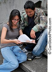 University Students studying together - Hispanic University...
