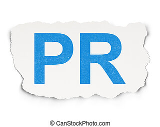 Advertising concept: PR on Paper background - Advertising...