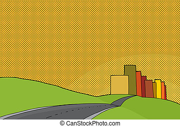 Sunset Urban Scene - Cartoon of city limits with hills and...