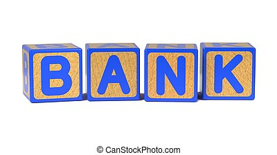 Bank - Colored Childrens Alphabet Blocks - Bank on Colored...