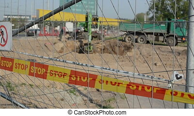 construction site warning - stop line warning bar on...