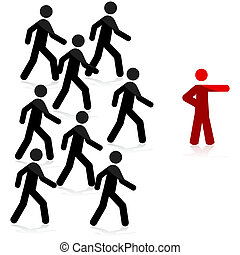 Follow the leader - Concept illustration showing a red man...